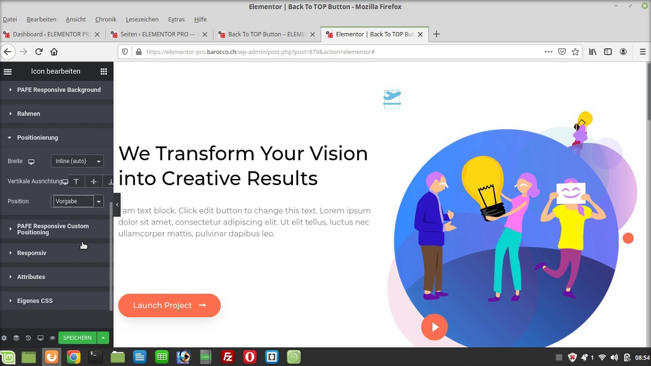 Elementor PRO Back to Top Icon - YouTube
