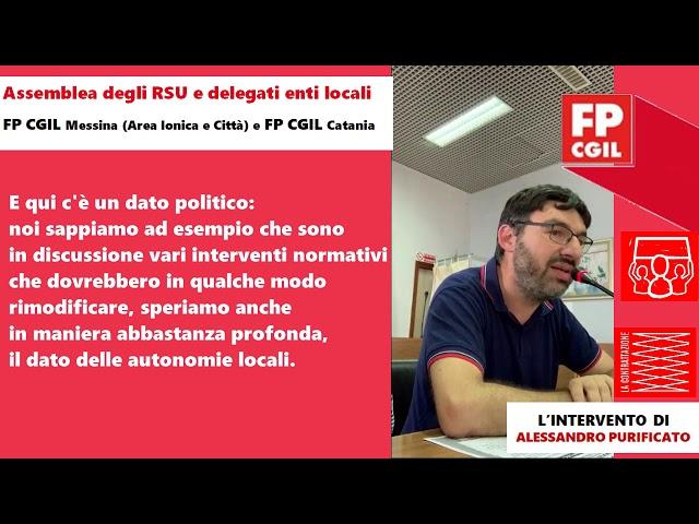Assemblea RSU e enti locali, intervento di Alessandro Purificato