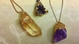 The Easiest DIY Faux Gold-Dipped Crystals and Druzies for Jewelry Projects by Denise Mathew