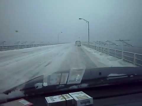 crossing mackinac bridge  snow and ice