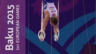 Eleftherios Petrounias wins the Men's Rings | Artistic Gymnastics | Baku 2015
