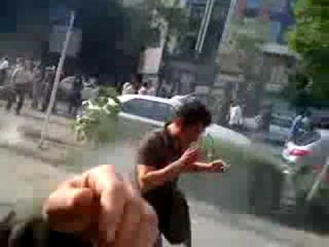 Iran Police attacks the protesters with tear gas