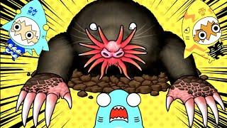 地下のモンスター動物?!サメニンジャーとホシバナモグラの冒険!