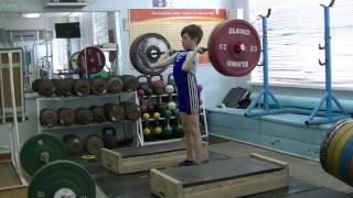 Шумихин Артур, 10 лет, св 28 3 На грудь в сед с плинтов+уход в сед 25 кг 5 подходов