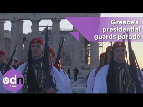 Greece's iconic presidential guards show their pompoms