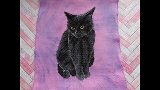 Черный кот - готовая работа. Кошачьи истории. Вышивка крестом