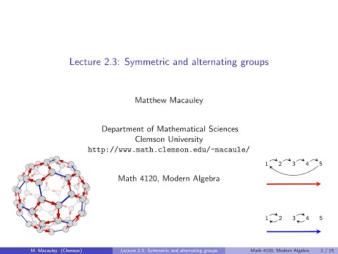 Visual Group Theory, Lecture 2.3: Symmetric and alternating groups