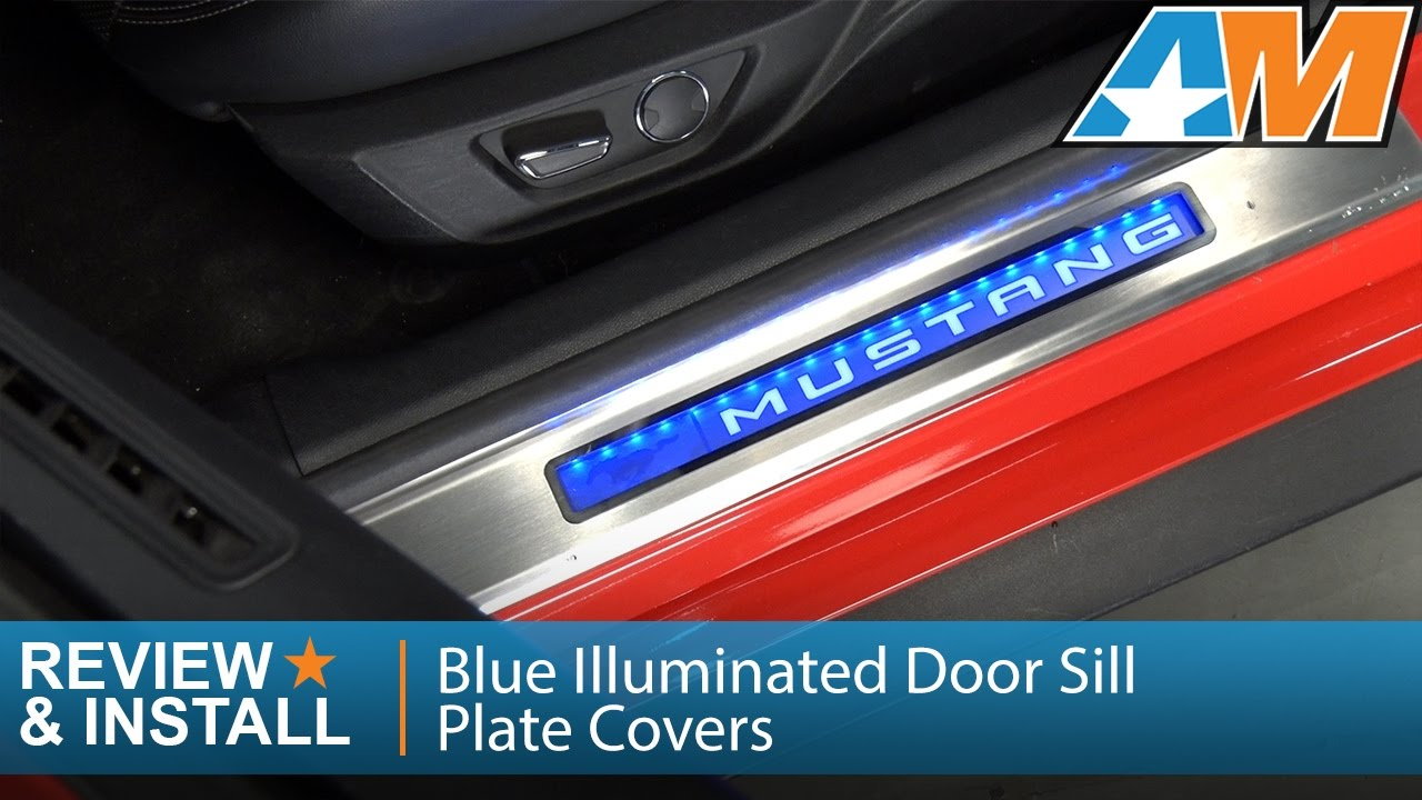 2015 2017 Mustang Blue Illuminated Door Sill Plate Covers