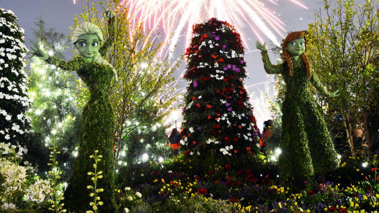 Disney Topiary Part - 46: Epcot Anna U0026 Elsa Disney FROZEN Illuminated Topiary W/Special Lighting,  Flower U0026 Garden Festival - YouTube