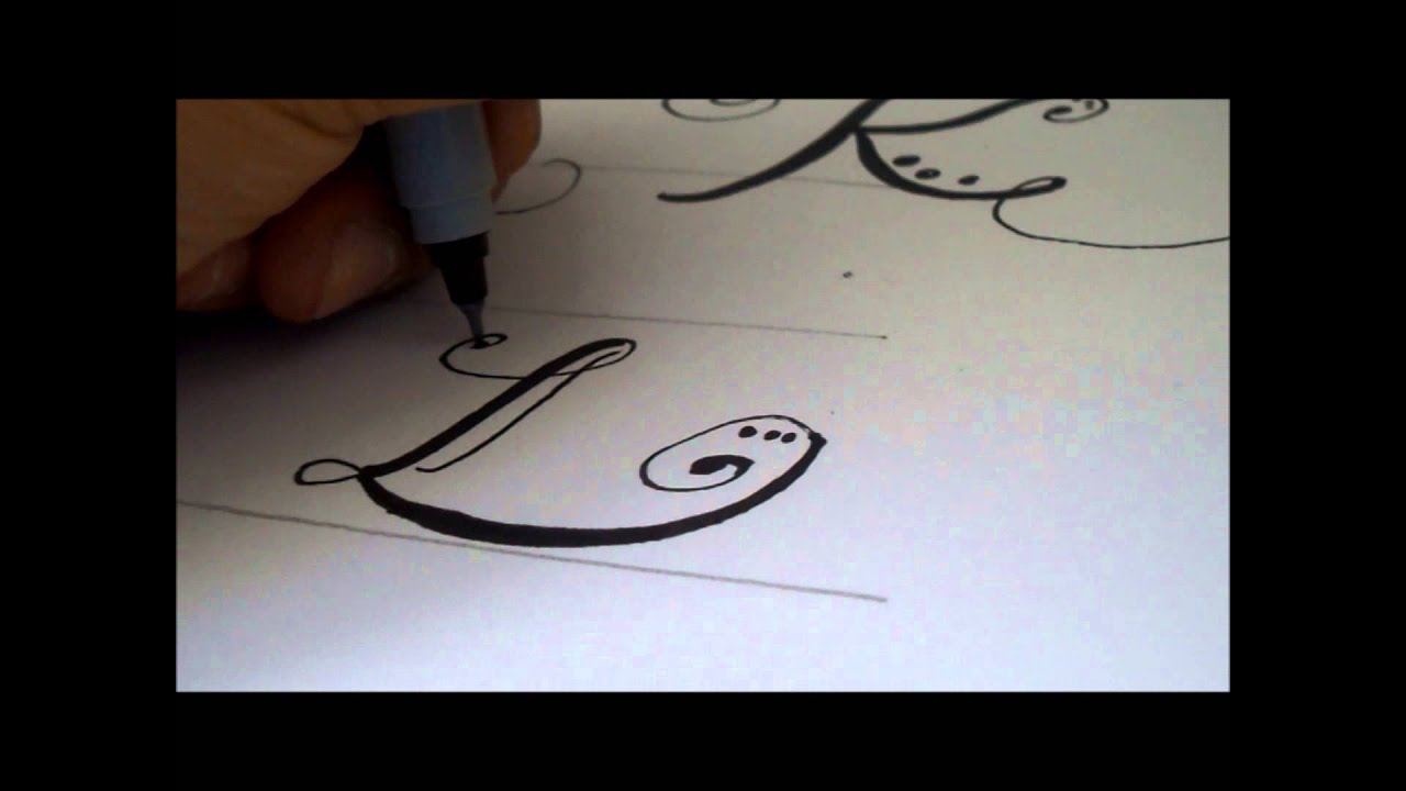 how to draw a fancy swiverled letter l