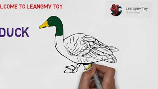 Drawing duck, how to draw a duck, coloring page for kids, color printer
