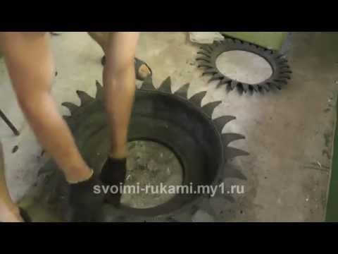 Как вывернуть покрышку для клумбы наизнанку без диска