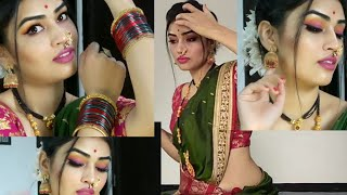 #nath#marathi🥻simple #Maharashtrian makeup look/affordable makeup tutorial/easy way#green#saree
