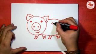 Как нарисовать Свинку, Урок рисования красным маркером
