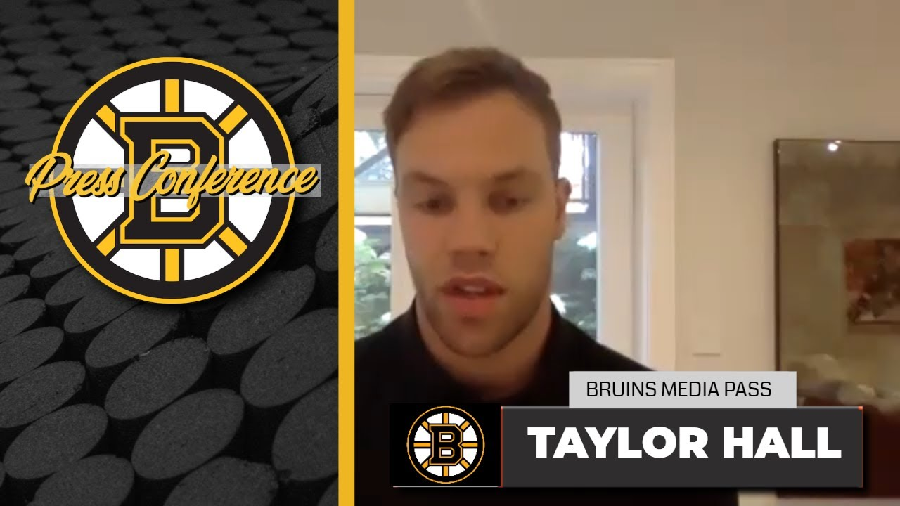 Taylor Hall REACTS to new contract with the Boston Bruins   Media Availability 7-23