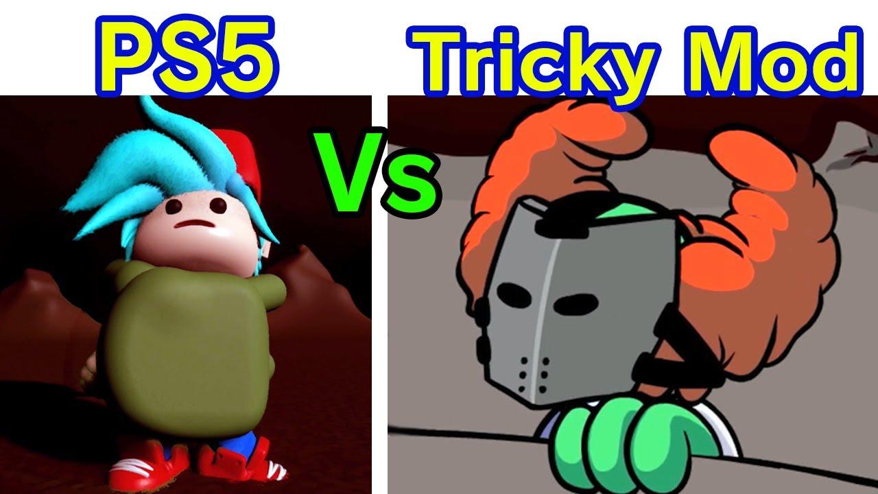 Friday Night Funkin' - Tricky Mod on PS5 Vs. Tricky Mod on PC + Cutscenes [FNF Mods] (Hard)