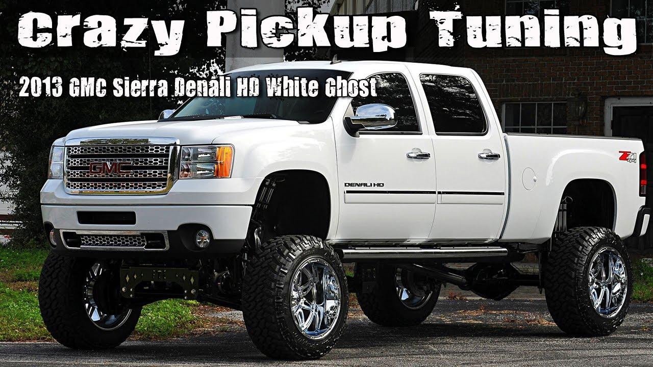 crazy pickup truck tuning 2013 gmc sierra denali hd white ghost youtube. Black Bedroom Furniture Sets. Home Design Ideas