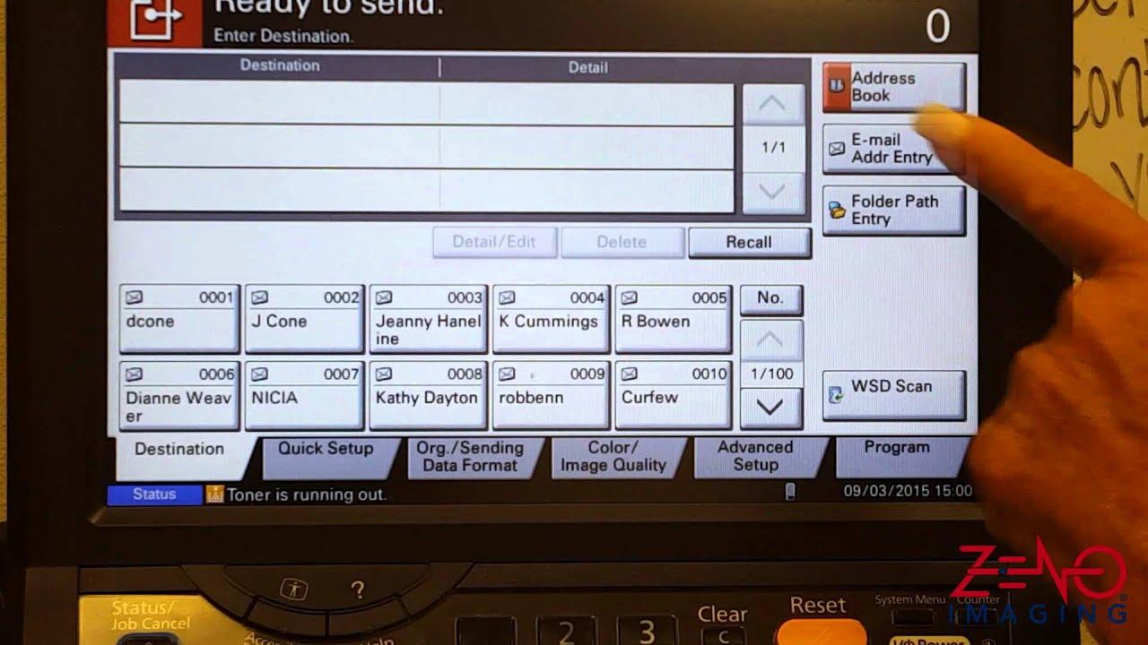 Kyocera TASKalfa Selecting Scan Destination From Address Book