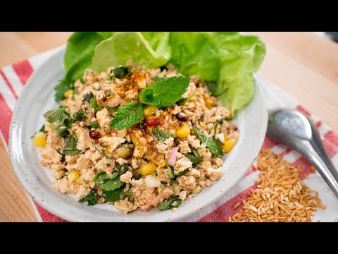 Vegan Laab Recipe Corn Tofu