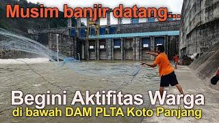 Saat Banjir Datang Begini Aktifitas Warga Di Bawah DAM PLTA Koto Panjang