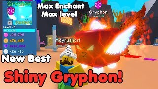 Shiny Gryphon Secret Pet! New Best Pet In Game! Max Enchant! INSANE - Bubble Gum Simulator Roblox