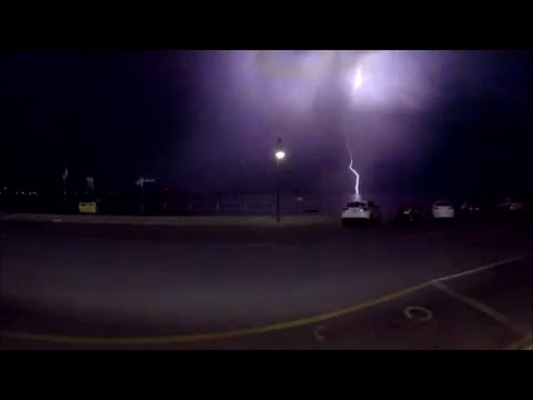 Lightening Hits Car, And Light Post, At Port Vincent South Australia