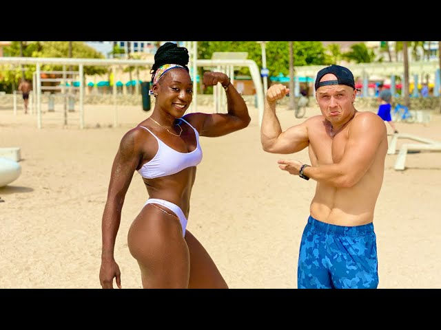 Crazy Strong Girl on South Beach! Magic Stone Part 5