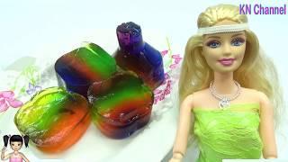 Đồ chơi trẻ em Búp bê Barbie hướng dẫn làm CHAI VITAMIN WATER THẠCH RAU CÂU CẦU VỒNG NGHIÊNG