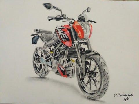 Duke Ktm Bike Drawing Super Speed Spike Arts With Sathak