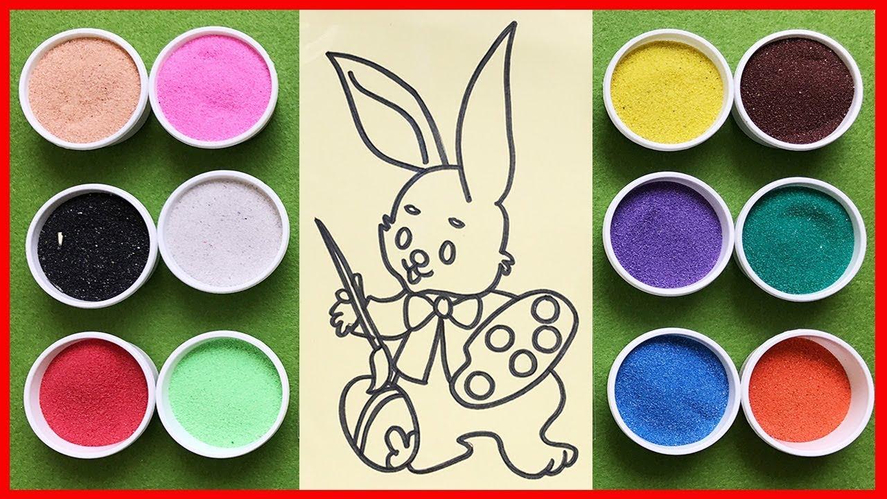 Đồ chơi trẻ em TÔ MÀU TRANH CÁT THỎ CON TẬP VẼ, Colors Sand Painting The Rabbit (Chim Xinh) r