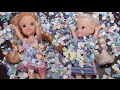 Elsa's birthday party with candy, presents, cake, confetti, Barbie episodes with Ladybug & Cat Noir