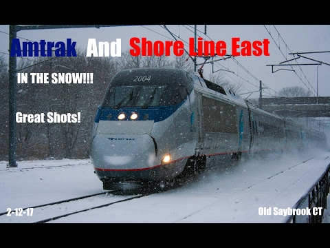 Amtrak & SLE Train Spotting @ The Old Saybrook Station #18 IN THE SNOW!!!