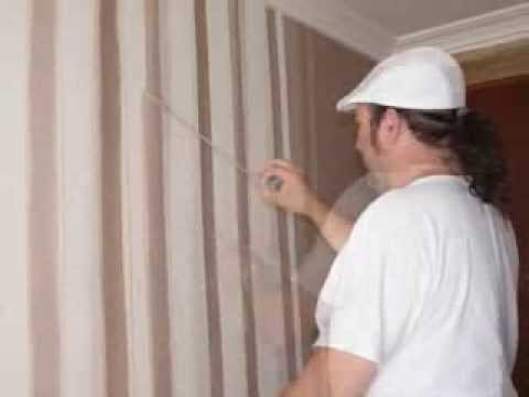 Como hacer rayas en la pared pintadas a mano youtube for Papel pintado habitacion matrimonio
