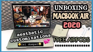 Unboxing New Macbook Air 13in 2020 + Set-up + Customization || [Indonesia]