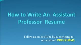 How To Write An Assistant Professor Resume   Resume for Assistant Professor