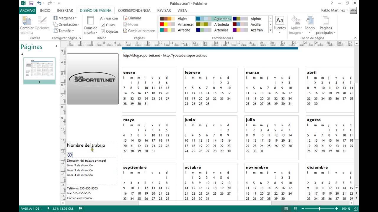 Publisher 2013 - Cómo hacer un calendario personalizado - YouTube