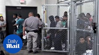 Inside look at kids being detained inside a detention center - Daily Mail President Donald Trump (righ