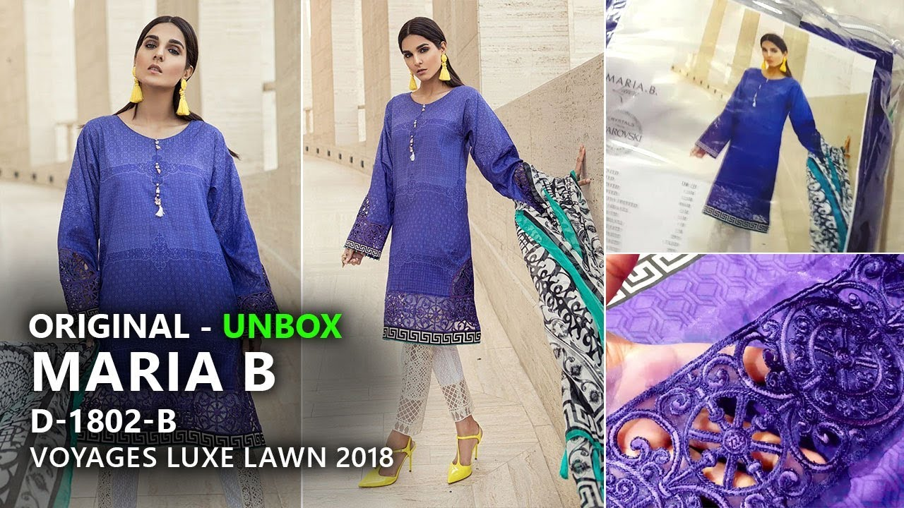 dc29728316 Maria B Collection 2018 - Unbox 2B Voyages Luxe Lawn 2018 - Pakistani  Branded Dresses. Sara Clothes