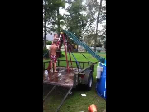 home made swimming pool slide