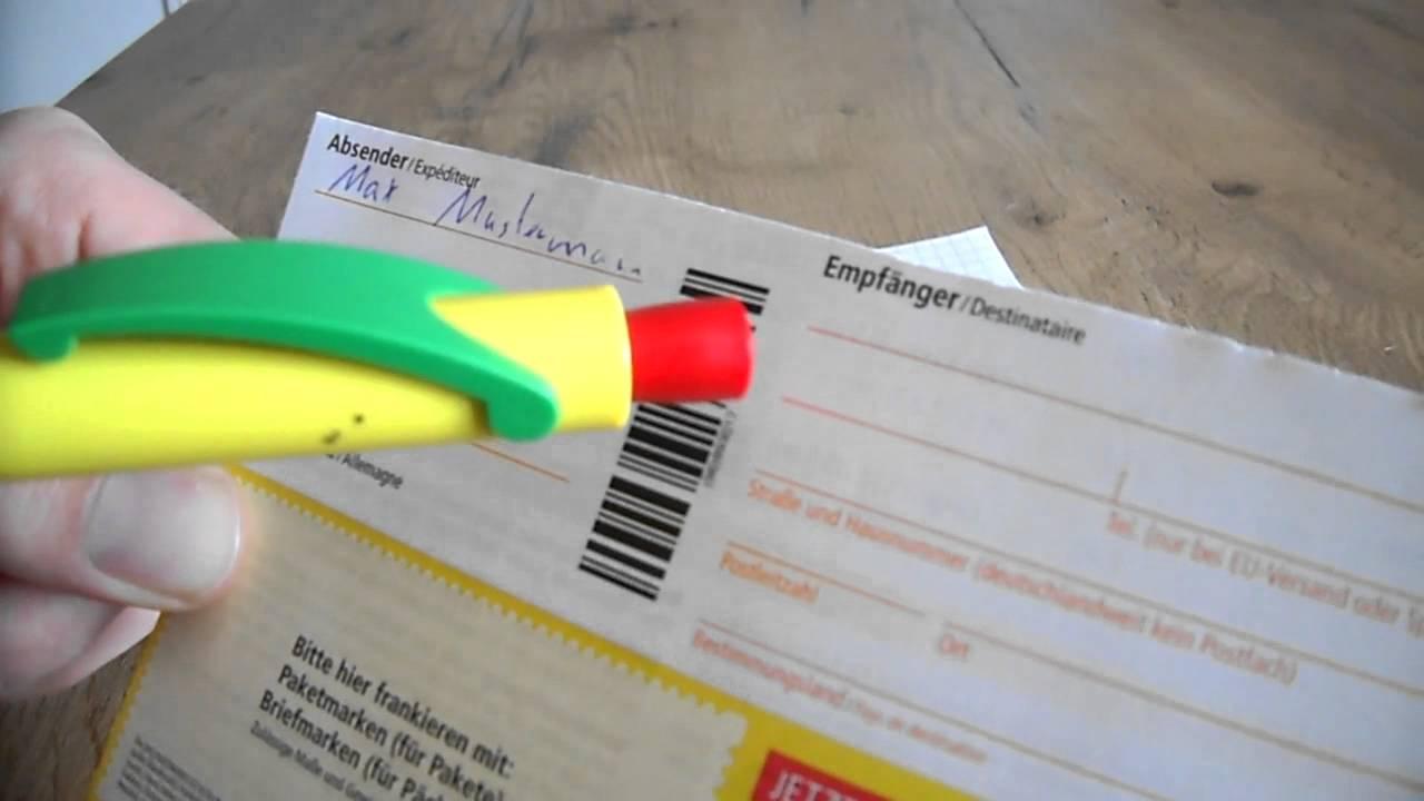 Anleitung Paketschein Ausfüllen Paket Versenden