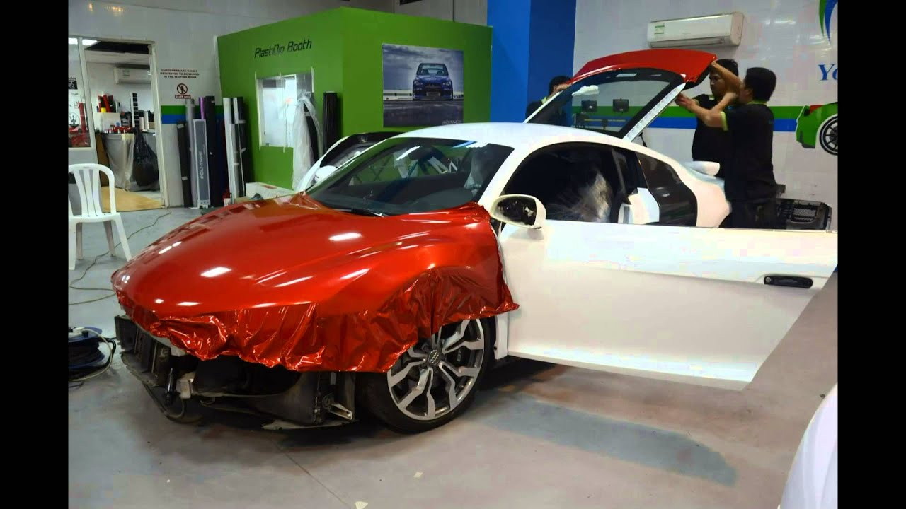 Audi R8 wrapped in Dragon Fire Red with matte black touches - YouTube