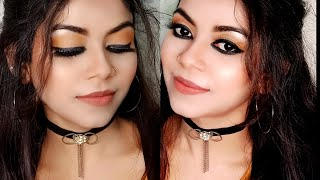 Bold black cat eyes makeup look with affordable \u0026 very minimum makeup products|Bold makeup look|