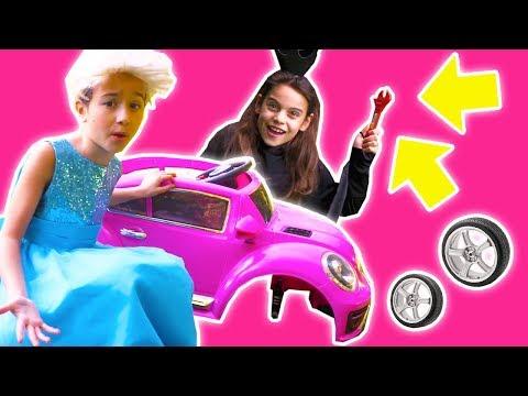 Wheel Falls Off Power Wheel Car! - Olivia Tries To Fix It - Princesses In Real Life | Kiddyzuzaa
