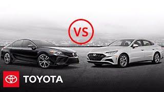 homepage tile video photo for 2020 Toyota Camry SE vs 2020 Hyundai Sonata SEL | Car Comparison | Toyota