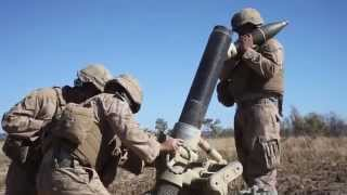 Closeup of 120mm Heavy Mortar in Action