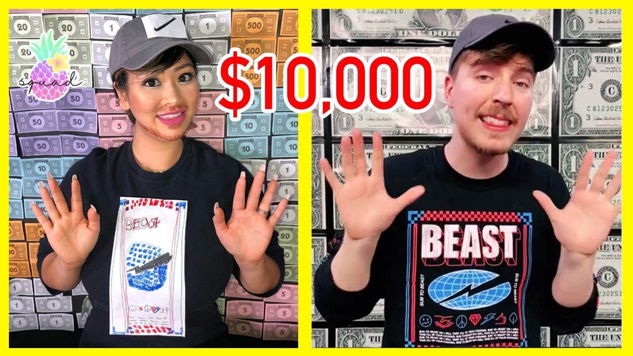 Mr. Beast give away $10,000 ! I Turned into Mr. Beast Twin for TikTok Challenge!
