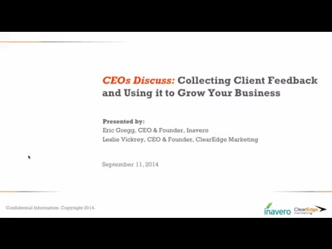 WEBINAR: CEOs Discuss Using Client Feedback to Grow Your Business