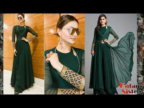 Stylish front cut kurti with latest neck design