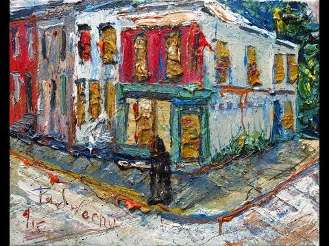 m929 oil painting street house building acrylic modern abstract artwork NYC gallery expressionist.
