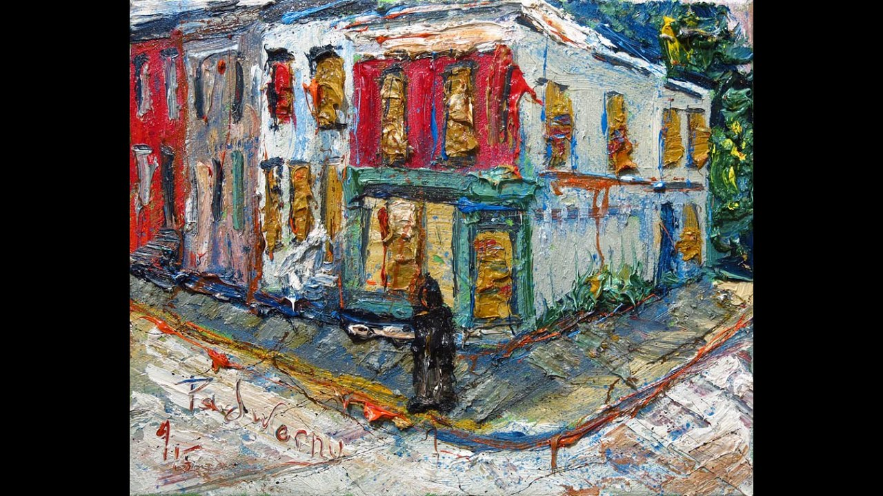 M929 oil painting street house building acrylic modern for Oil paintings of houses